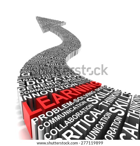 Rising arrow formed by words related to education, 3d render - stock photo