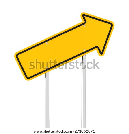 Rising arrow road sign, 3d render, white background
