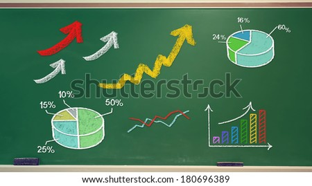 Rising arrows and graphs drawn on green chalk board - stock photo