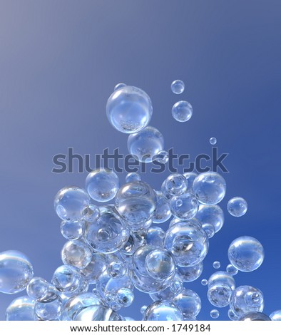 Rising Bubbles against a blue sky
