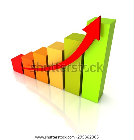 rising business graph - stock photo