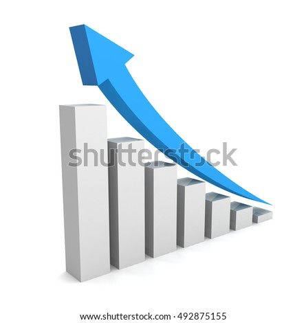 rising business graph concept   3d illustration