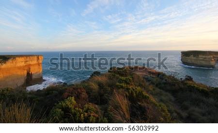 Rising cliffs at Great Ocean Road - stock photo