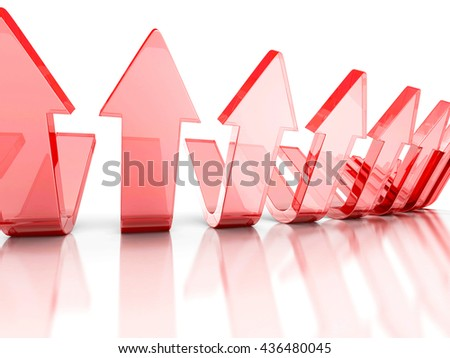 Rising glass red arrows. Success Teamwork Concept. 3d Render Illustration - stock photo