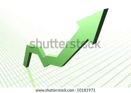 Rising Graph (green) - stock photo