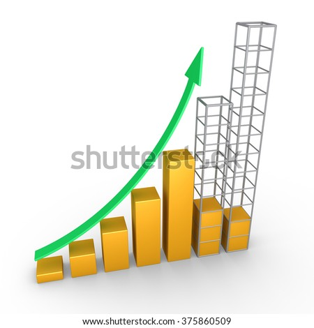 Rising graphic chart with arrow and two columns are being build - stock photo