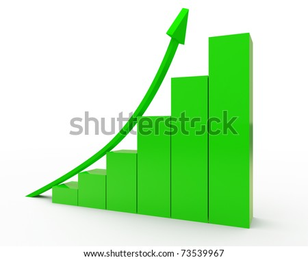 rising green graph isolated over white - stock photo