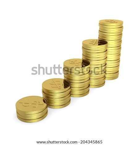 Rising Heaps of Dollar Pieces 3D Illustration