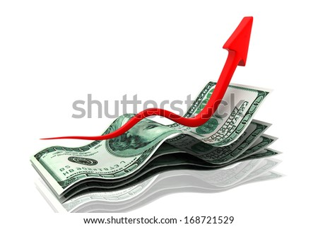 Rising money charts - stock photo