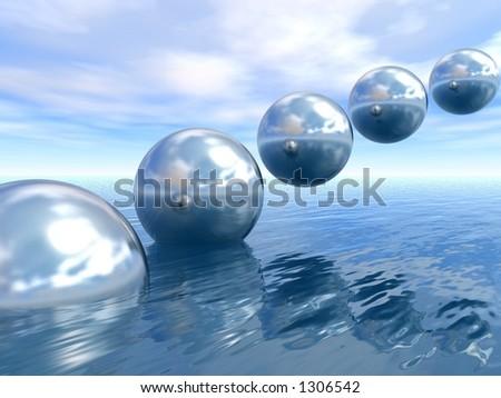 rising planets - stock photo