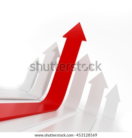 Rising red arrow among white arrows. 3D illustration.