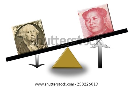 rising Renminbi versus falling US dollar on a scale, concept of foreign exchange or balance of trade - stock photo