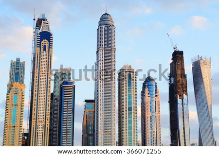 Rising skyscrapers of Dubai Marina.