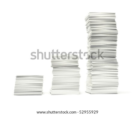 Rising stacks of paper illustrating,  like a bar graph, mounting paperwork growing costs, bills, bureaucracy etc. Isolated on white. - stock photo