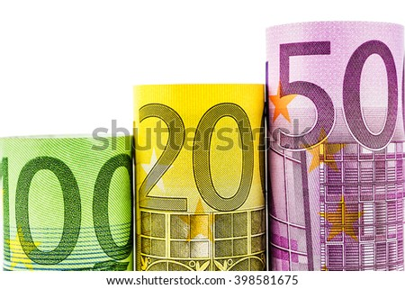 rising steps made of big euro banknotes on  white background - stock photo