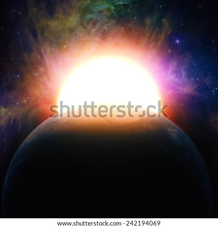 rising sun, abstract science and environmental backgrounds for your design. NASA imagery used - stock photo