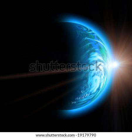 rising sun and planet illustration isolated on black - stock photo