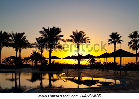 Rising sun and pool in Egypt Sharm el-sheikh