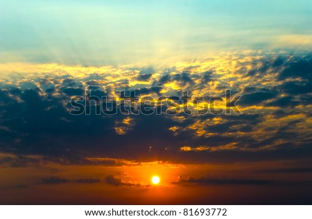 Rising sun has painted the sky marvelous paints - stock photo