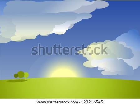 rising sun landscape - stock photo