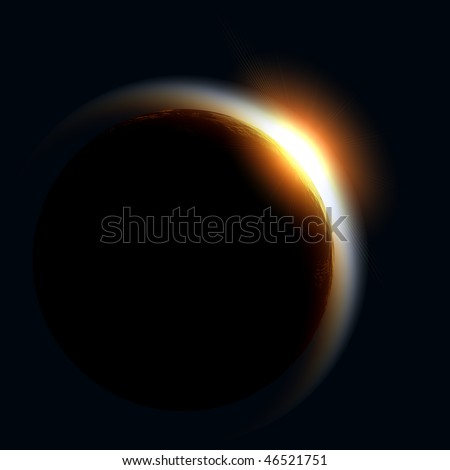 Rising Sun over Earth illustration. - stock photo
