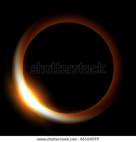 Rising Sun over Earth illustration - stock photo