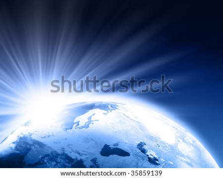 Rising Sun over Earth illustration. Copy space for your text - stock photo