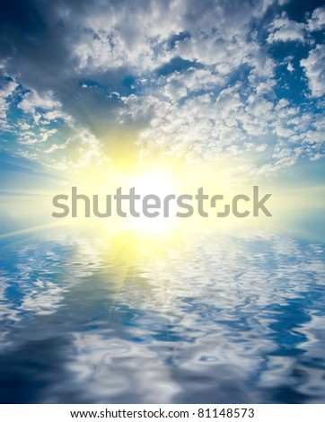 rising sun reflected in a water - stock photo