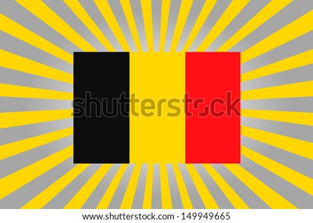 Rising sun style background with the flag of Belgium