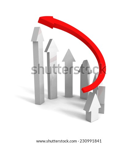 rising up red leader concept arrow. leadership success 3d render illustration - stock photo