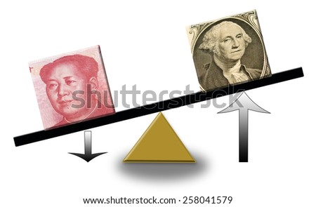 rising US dollar versus falling Renminbi on a scale, concept of foreign exchange or balance of trade - stock photo