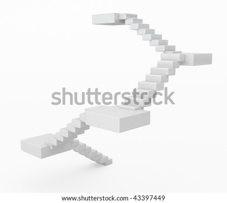 Rising white 3d staircase illustration, horizontal, isolated - stock photo