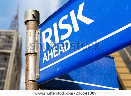 Risk Ahead blue road sign - stock photo