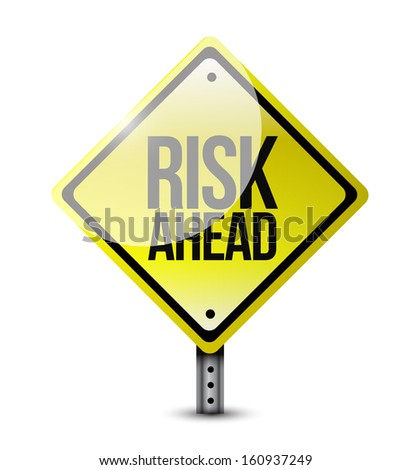 risk ahead road sign illustration design over a white background