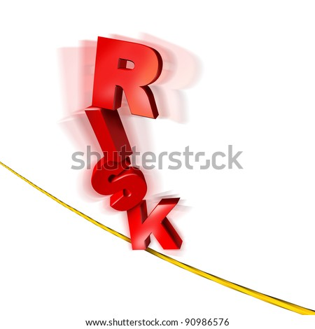 Risk and balance symbol with dimensional text letters on a dangerous tightrope balancing as an anxiety concept of risky behavior and business chance or health risks on a white background. - stock photo