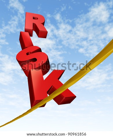 Risk and balance symbol with dimensional text letters on a dangerous tightrope balancing on a blue cloud sky as an anxiety concept of risky behavior and business risk or health risks. - stock photo