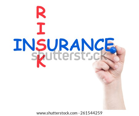 Risk and insurance concept written by hand using a marker on transparent wipe board with white background and copy space - stock photo
