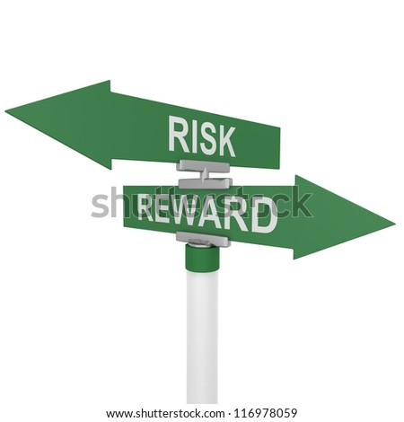 risk and reward signpost - stock photo