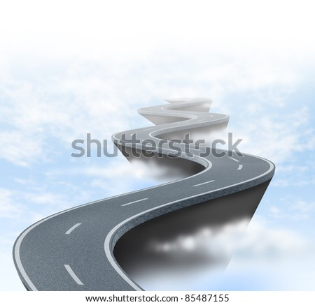 Risk and uncertainty represented by a winding road high above the clouds showing the concept of danger and extreme challenges faced in business and life. - stock photo