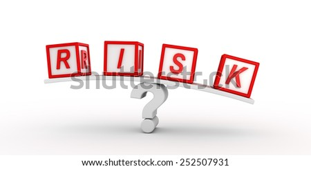 Risk cubes  balancing on question. - stock photo