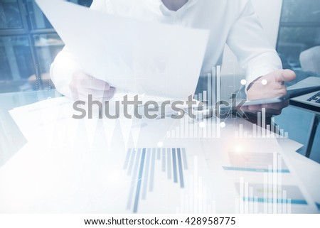 Risk Department Work Online Process.Photo Trader working Market Report Documents Touching Screen Tablet.Using Graphics,Stock Exchanges Reports,Digital Interfaces.Business Project Startup.Horizontal - stock photo