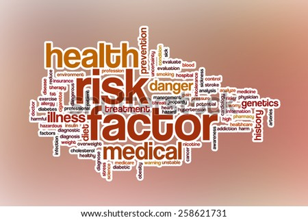 Risk factor word cloud concept with abstract background - stock photo
