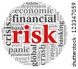Risk in economy and finance concept in word tag cloud on white background - stock photo