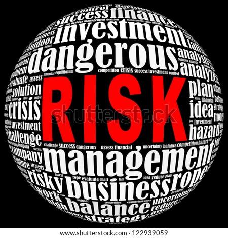 Risk info-text graphics arrangement on black background - stock photo