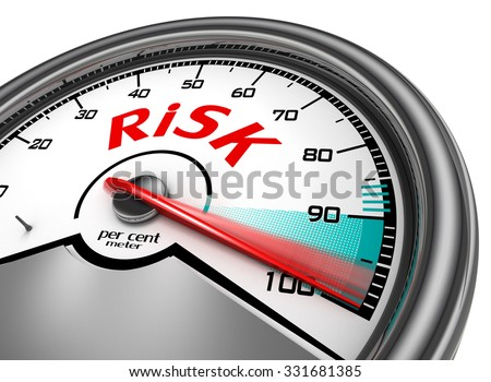 Risk level hundred per cent conceptual meter, isolated on white background - stock photo