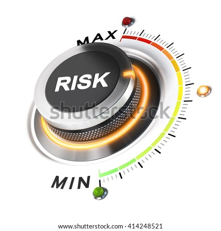 Risk level knob positioned on medium position, white background and orange light. 3D illustration concept for business security management. - stock photo