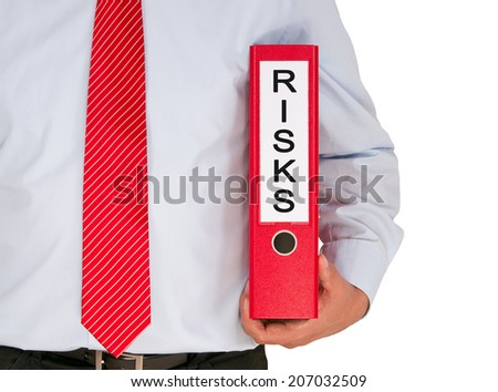 Risk Management - Businessman with red binder on white background - stock photo