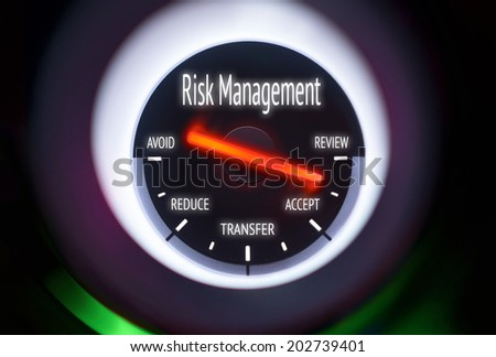 Risk Management concept displayed on a gauge - stock photo