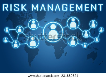 Risk Management concept on blue background with world map and social icons. - stock photo