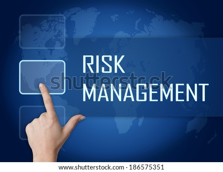 Risk Management concept with interface and world map on blue background - stock photo